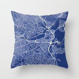 Boston Map, USA - Blue Throw Pillow