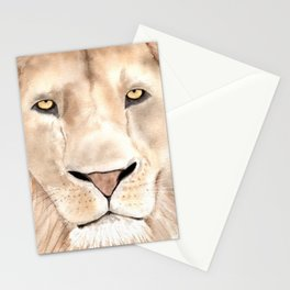 Great Lion Face close up, watercolor art.  Stationery Cards
