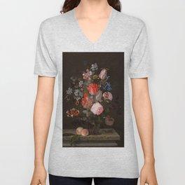 """Adriaen van der Spelt """"Still life of flowers on a stone ledge"""" Unisex V-Neck"""