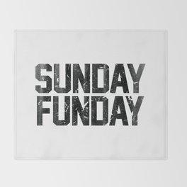 Sunday Funday Dirty Vintage Varsity Typography Print Throw Blanket