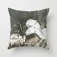 jurassic park Throw Pillows featuring Jurassic by Erika Marie Burke