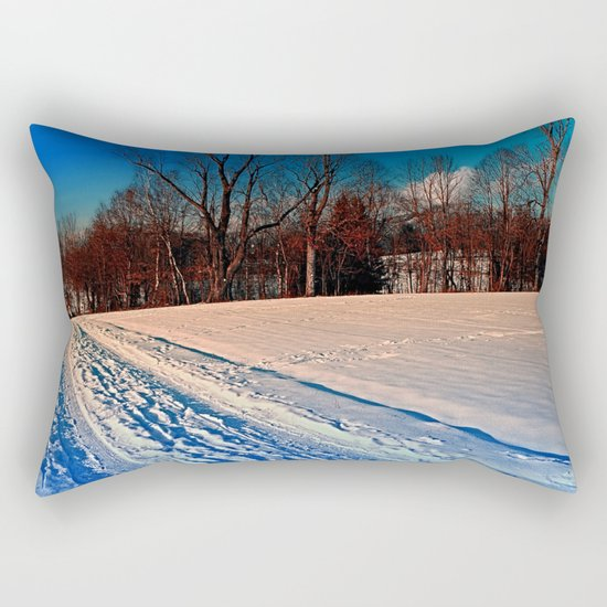 Traces on a winter hiking trail Rectangular Pillow