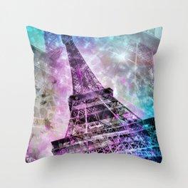 Pop Art Eiffel Tower Throw Pillow