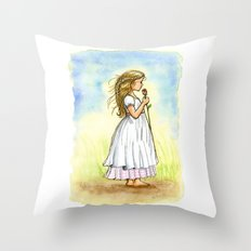 Rose Girl Pillow -  Vintage Inspired Rose Girl Painting Throw Pillow