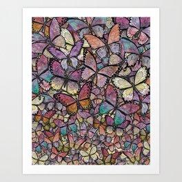 butterflies aflutter rosy pastels version Art Print