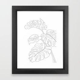 Line Art Monstera Leaves Framed Art Print
