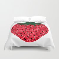strawberry Duvet Covers featuring Strawberry by Dpat Designs