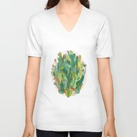 cacti V-neck T-shirts featuring Cacti by Gaby D'Alessandro