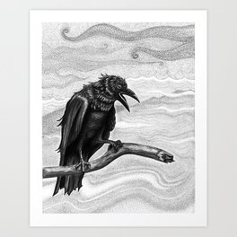 Raven in the Mist Art Print