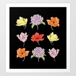 9 flowers (dark) Art Print
