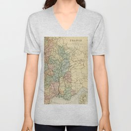 Old Map of the East of France Unisex V-Neck
