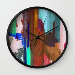 Brushed multicolor abstract painting Wall Clock