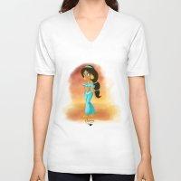 jasmine V-neck T-shirts featuring Jasmine by Khatii