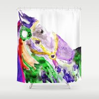pony Shower Curtains featuring Prize Pony by Kats Illustration