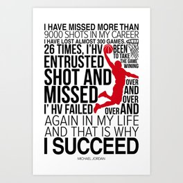 M.Jordan Chicago bull Motivation Art Print