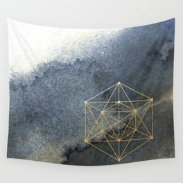 Sacred Geometry Indigo Blue & Gold Watercolor Wall Tapestry