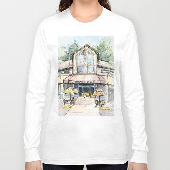 Coffee Shop Art Urban City Watercolor Long Sleeve T-shirt