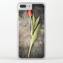 Red Tulip Clear iPhone Case