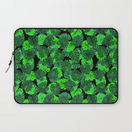 Big Monstera Tropical Leaf Hawaii Rain Forest Black and Green Laptop Sleeve