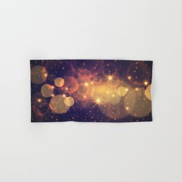 Shiny Sparkling Festive Holiday Bokeh Decorative Hand & Bath Towel