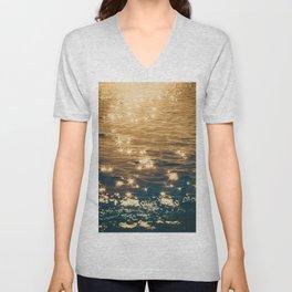 Sparkling Ocean in Gold and Navy Blue Unisex V-Neck