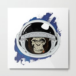 Space Chimp Metal Print