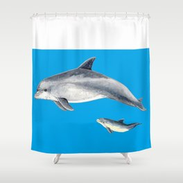 Bottlenose dolphin blue background Shower Curtain
