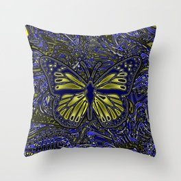 Monarch Butterfly Abstract Art Yellow Blue Throw Pillow