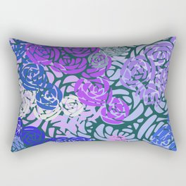 Colorful Overlapping Roses on Roses Print Design 3 Rectangular Pillow