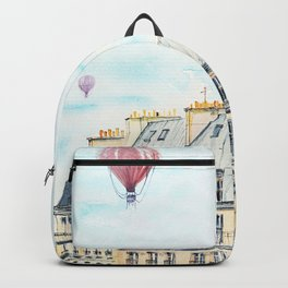 Architecture Paris and air balloon watercolor Backpack