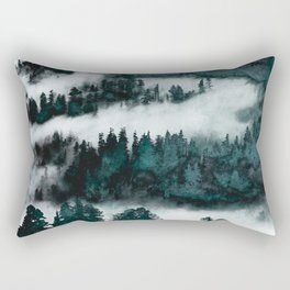Foggy Forest Fun - Turquoise Mountains Rectangular Pillow