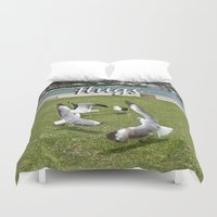 happy birthday Duvet Covers featuring Happy Birthday by CrismanArt