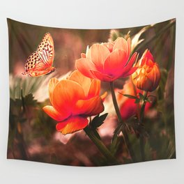 Brilliant Orange Rose And Butterfly Wall Tapestry