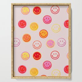 Smiling Faces Pattern Serving Tray