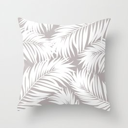 Palm Tree Fronds White on Soft Grey Hawaii Tropical Décor Throw Pillow