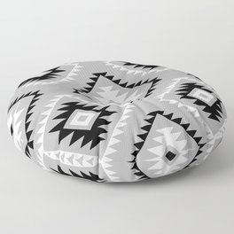 Aztec Style Motif Pattern Monochrome Floor Pillow