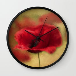 A Red Poppy Wall Clock