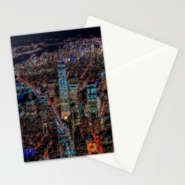 Lower Manhattan & Freedom Tower Landscape Painting by Jeanpaul Ferro Stationery Cards
