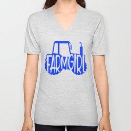 Farmer Gift Home Farm Girl Blue Tractor Farming Gift Unisex V-Neck