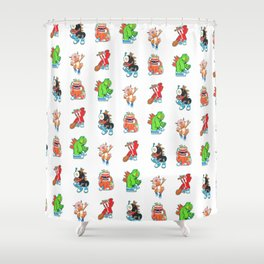 Kaiju Food Monsters Pattern #2 Shower Curtain