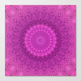 Sunflower Peacock Feather Bohemian Pattern \\ Aesthetic Vintage \\  Bright Fuchsia Pink Color Scheme Canvas Print