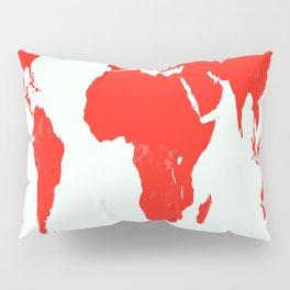 World Map red Pillow Sham
