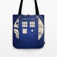 doctor who Tote Bags featuring Doctor Who by LukeMorgan