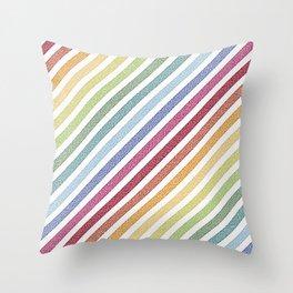 Stripes rainBow Pixels Throw Pillow