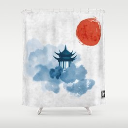 Blue pagoda temple, red sun and forest trees. Traditional oriental ink painting sumi-e, u-sin, go-hu Shower Curtain