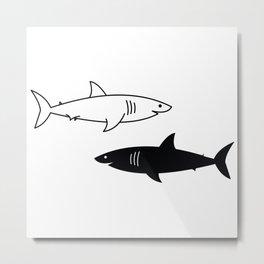 B/W Shark Metal Print