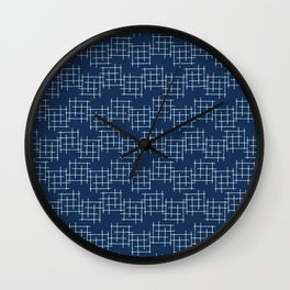 Indigo Blue Japanese Style Criss Cross Lines Wall Clock