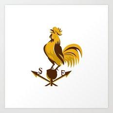 rooster cockerel crowing retro Art Print