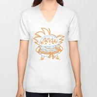 goku V-neck T-shirts featuring Cheeseburger Goku by Philip Tseng
