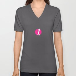 Vector watercolor pink ribbon - breast cancer awareness symbol Unisex V-Neck